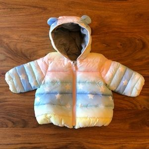 Gap Baby Rainbow & Stars Puffer Coat w/ Bear Ears
